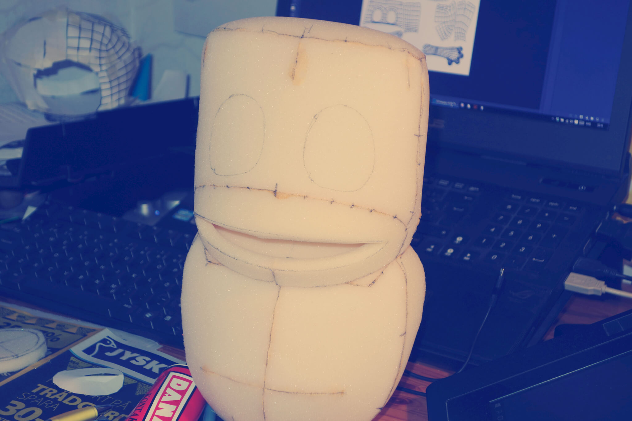 Building Pikku foam puppet